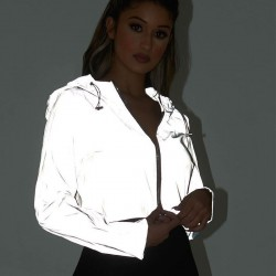 Reflective jacket - women night glowing hooded jacket coat - sexy short long sleeve zipper