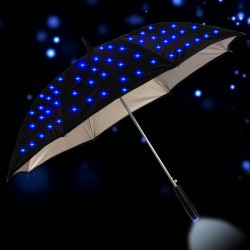 Long rain umbrella - with flashing LED stars