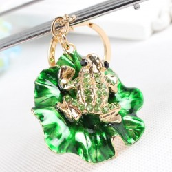 Lovely Frog Green Lotus Leaf Crystal Charm Purse Handbag Car Key Keyring Keychain Party Wedding Birt