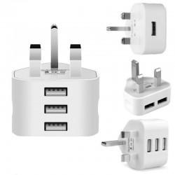 3 Pin Plug For All Mobile Phone Tablet Charger With UK Plug White 3 Ports USB Travel Charging Mains