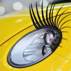 2PCS 3D Charming Black False Eyelashes Fake Eye Lash Sticker Car Headlight Decoration Funny Decal Fo