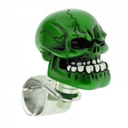 1Pc Skull Head Car Steering Wheel Spinner Suicide Knob Handle Booster - Green
