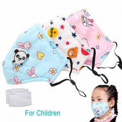 PM25 activated carbon face/mouth mask with valve - for kids children - incl. extra filters