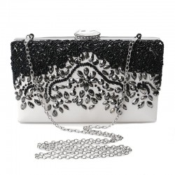Crystal rhinestone purse - rectangle - black - ladies