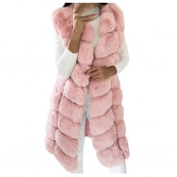Elegant sleeveless coat - fur vest