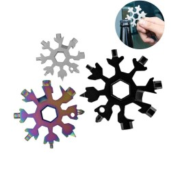 Snowflake shaped 18 in 1 multi-tool - stainless steel bottle opener & screwdriver