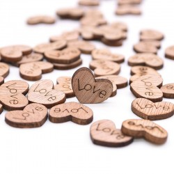 Mini wooden heart - 100pcs