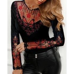 Long sleeve mesh blouse with butterflies
