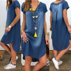 Short sleeve denim dress - V-neck - loose design