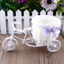 White Bike Design Flower Basket Container |