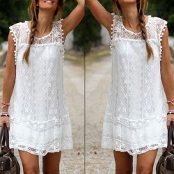 Casual Short Sleeve Lace Mini Dress