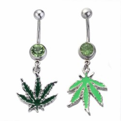 Pot Leaf Dangle Belly Button Piercing
