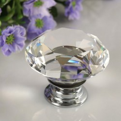 30mm Diamond Crystal Door Drawer Wardrobe Handle Knob*