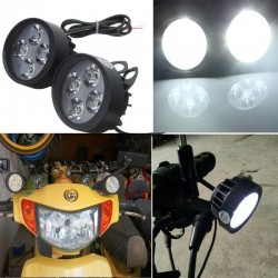 12V Universal Motorcycle Motorbike 4 LED Rearview Mirror Headlight Fog Light 2pcs
