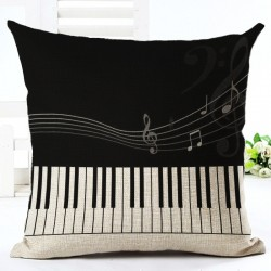 Music Notes Pillowcase Cushion Cover Cotton 45 * 45cm