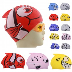 Children's Cartoon Shark Waterproof Silicon Swimming Diving Cap