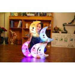 Colorful Moon Shape Plush Luminous Glowing LED Light Pillow Toy
