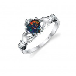 925 Sterling Silver Multicolour Opal Women's Heart Ring |