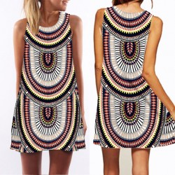 O-neck Sleeveless Printed Women's Dress
