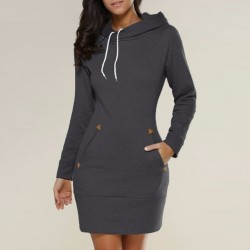 Casual Straight Hooded Mini Dresses