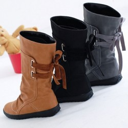 Warm Winter Leather Boots Leather