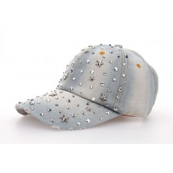 Cappello da Baseball Regolabile in Jeans con Strass