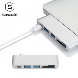 Sovawin 5 in 1 usb-c USB 30 Hub Multi Type c Spliter Adapter usb30 Card Reader for Macbook Pro 201