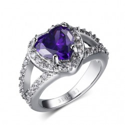 Stainless Steel Purple Stone Ring