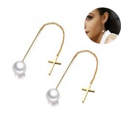 Simulated Pearl Drop Line Long Earrings