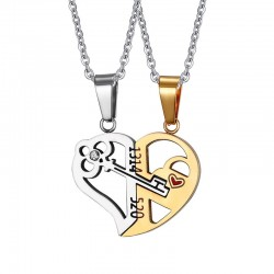 Key Lock Heart Shape Pendant Unisex Necklace 2pcs Set