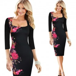 Elegant Floral Print Slim Pencil Dress Plus Size
