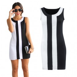 Slim Black & White Stripes Sleeveless Mini Dress Plus Size