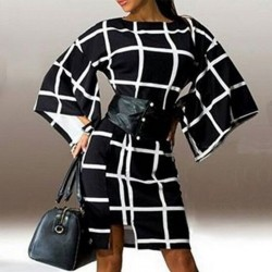Plus Size Elegant Plaid Retro Dress