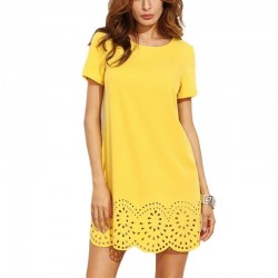 Yellow Short Sleeve Hollow Out Mini Dress