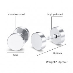 Vnox Stainless Steel Earrings Double Round Bolt Stud Earrings for Men Women Punk Gothic Silver Ear S