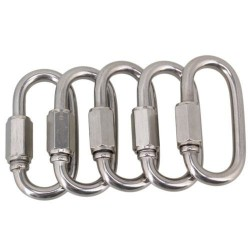 M5 carabiner oval screw lock hook stainless steel 5 pcs