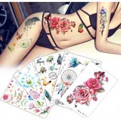 Flower & bird temporary fake tattoo sticker