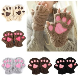 Bear paw mittens plush fingerless gloves