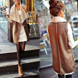Slim autumn winter leather vest