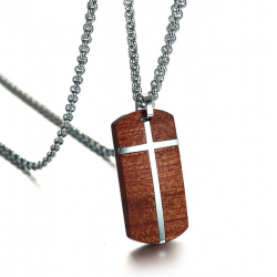 Vintage rosewood stainless steel cross necklace
