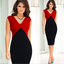 Elegant stretch slim pencil dress