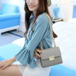 Crocodile leather mini crossbody shoulder bag