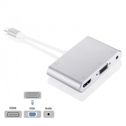 8 pin to HDMI VGA and 3.5mm audio jack adapter - HDTV OTG converter for iPhone - iPad
