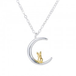 Crescent moon & golden rabbit pendant silver necklace