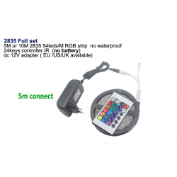 SMD RGB LED strip light 5050 - 2835 10M - 5M with controller & DC 12V adapter set