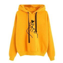 Women's - hoodie hooded sweatshirt - cotton - fingertips heart print