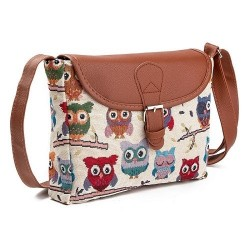 Printed Owls - crossbody shoulder small bag