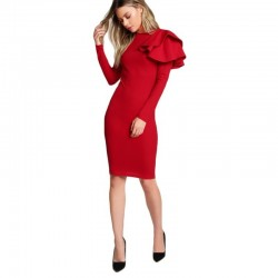 Elegant - slim - long-sleeved dress with ruffle