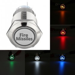 12V 19mm 5 pin - missili antincendio - interruttore a pulsante momentaneo a LED - metallo