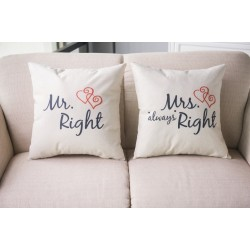 Mr & Mrs Alway Right - cotton cushion cover 44 * 44cm